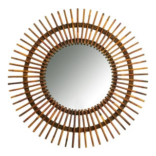 Gabriella Crespi Style Vintage Bamboo Circular Wall Mirror - Cleaned and Restored - Tropical Organic Mid Century Modern Rattan For Sale
