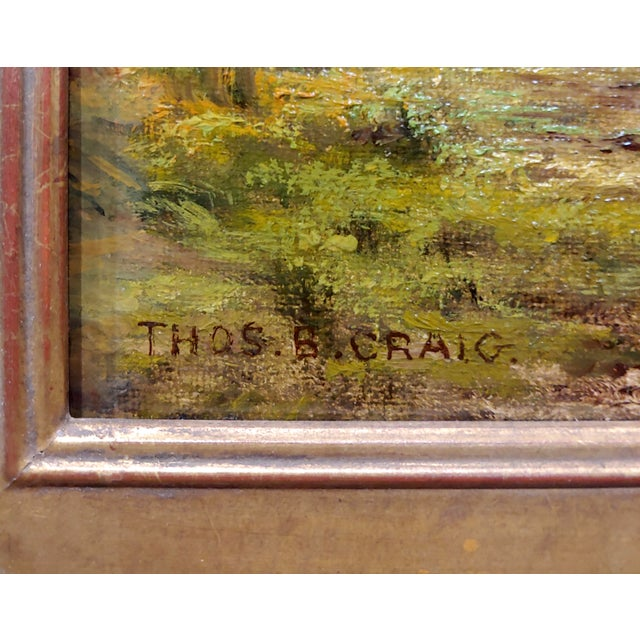 Canvas Thomas Craig -Cows Grazing by Water Under a Summer Sky-Oil Painting For Sale - Image 7 of 11