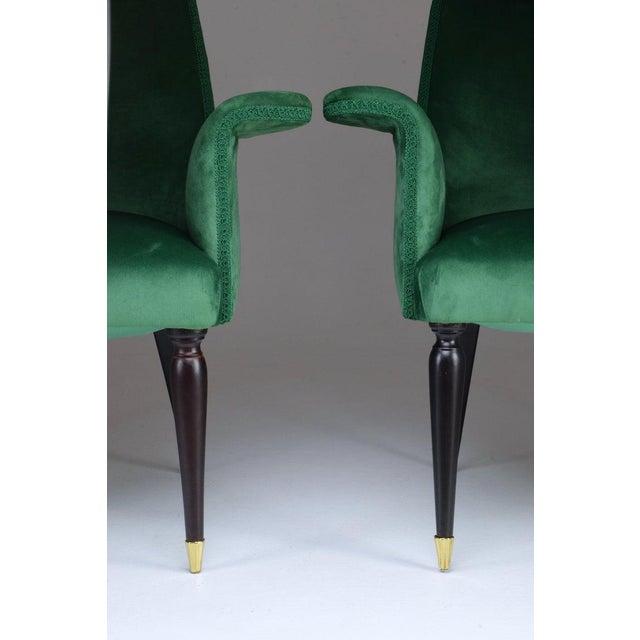 Art Deco 20th Century Pair of Italian Armchairs by Osvaldo Borsani, 1940s For Sale - Image 3 of 11