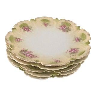 Antique Porcelain Floral Plates - Set of 5
