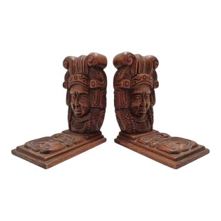 Large Vintage Carved Aztec Wood Bookends ~ a Pair For Sale