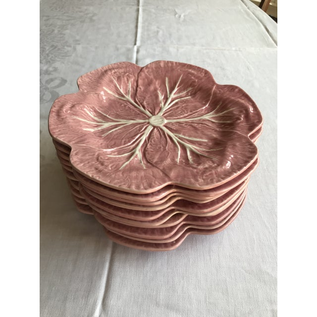 These are Bordallo Pinheiro pink glaze Majolica plates in a cabbage leaf patterns each has a mark on the back made in...