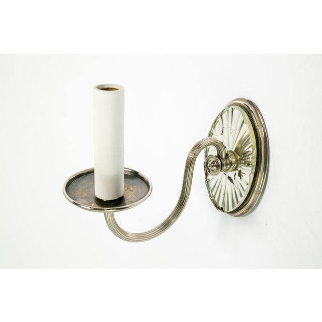 Neoclassical Caldwell Mirrored Silver Sconces (pair) For Sale - Image 3 of 7