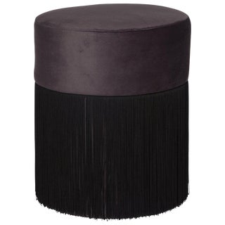 Pouf Pill Black in Velvet Upholstery With Fringes For Sale