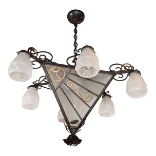 French Art Deco Wrought Iron Six-Arm Chandelier with Rose Finial For Sale