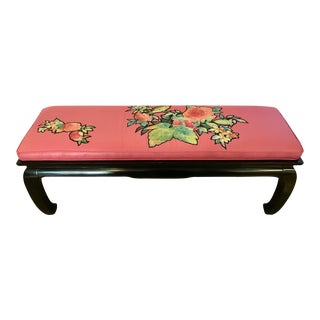 Vintage Mid Century Black Lacquer & Pink Asian Style Bench For Sale