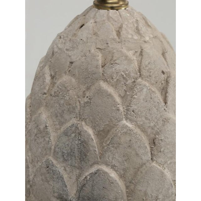 Stone Artichoke Faux Stone Lamps - a Pair For Sale - Image 7 of 11