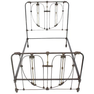 19th Century Gothic Cast Iron and Brass Bed Heart Pattern Bedframe For Sale