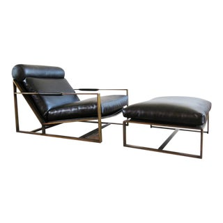 Original 1967 Milo Baughman Armchair With Ottoman - a Pair For Sale