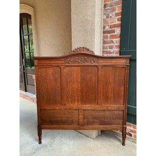 Antique French Country Carved Tiger Oak Bed Bedframe Preview