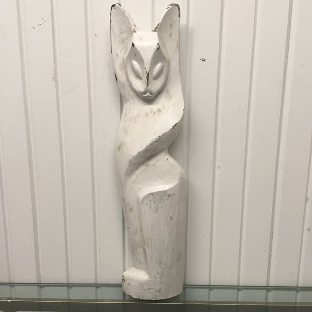 Vintage Hand Carved White Cat Figural Sculpture For Sale In Dallas - Image 6 of 6