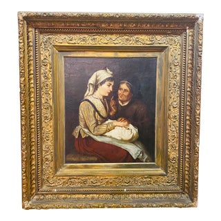 Antique Old Masters Renaissance Style Old Woman Portrait Oil Painting in Gold Carved Gesso Frame For Sale