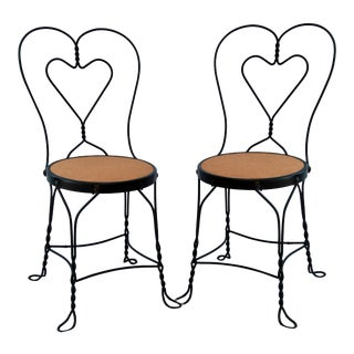 1950s Vintage Ice Cream Parlor Chairs- a Pair For Sale