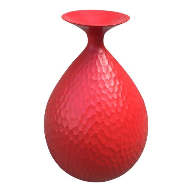 Modern Chiseled Wood Red Vase Chairish