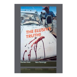 """Damien Hirst the Elusive Truth-Suicide Bomber (Aftermath) 39"""" X 27.5"""" Poster 2006 Pop Art White, Multicolor Car, Blood For Sale"""