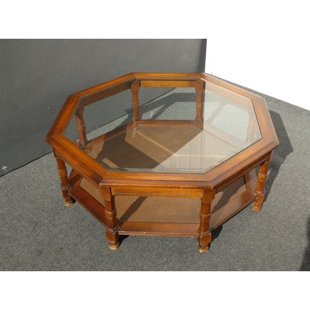 Mid Century Octagon Beveled Glass Top Coffee Table - Image 5 of 9