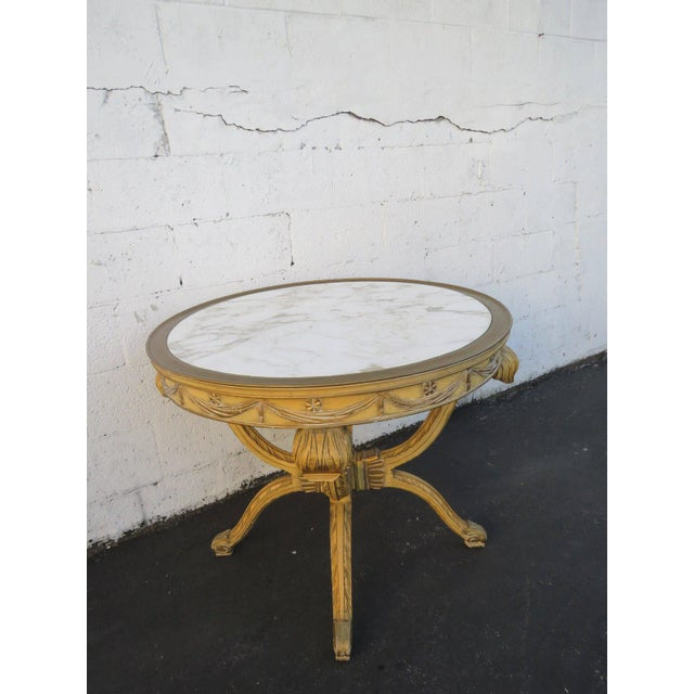 Wood French Painted Heavy Carved Marble Top Large Center Table For Sale - Image 7 of 11