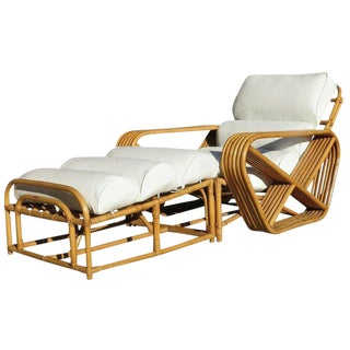 Pair of Square Pretzel Rattan Lounges with Ottomans For Sale