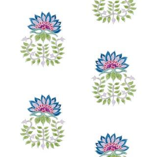 Ferran Gazania Fabric, Sample, Sapphire in Linen/Cotton For Sale