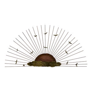 Mid-Century Modern Bruce and William Friedle Brutalist Style Metal Sunburst Wall Sculpture For Sale