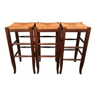 3 Vintage Italian Hardwood Backless Bar Stools For Sale