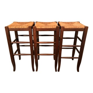 Early 21st Century Vintage Italian Hardwood Backless Bar Stools- Set of 3 For Sale