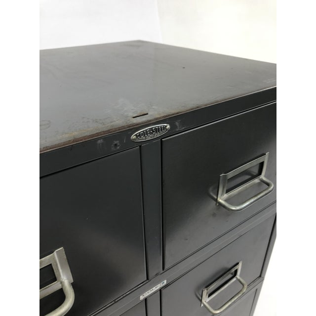 VINTAGE INDUSTRIAL FILE STORAGE BOXES. SET OF (3). Solid steel design. Original gray paint. Drawers all move well and have...