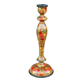 Hand Painted Floral Kashmiri Candle Holder II For Sale