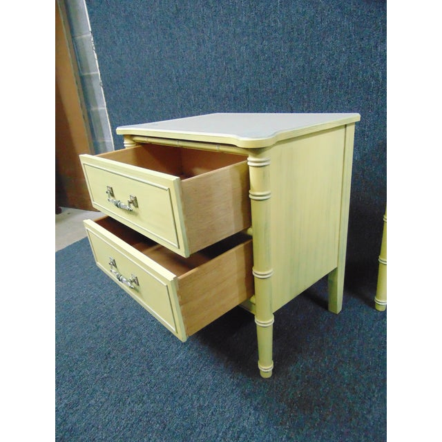 Hollywood Regency Style Cream & Yellow Faux Bamboo Nightstands - a Pair For Sale - Image 9 of 10