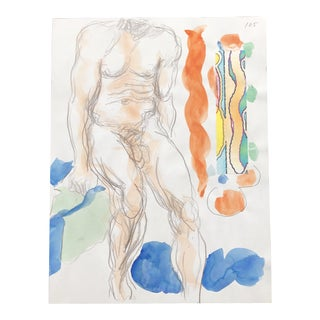 Male Nude Painting and Collage by James Bone For Sale