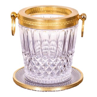 Vintage French Glass and Brass Champagne Bucket With Tray For Sale
