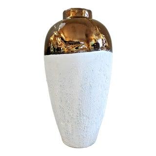 Tall Textured White & Bronze Vase For Sale