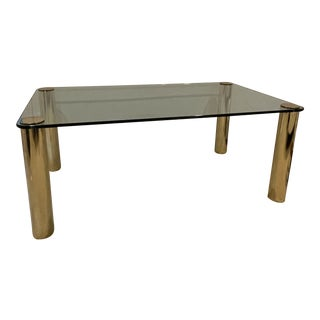 1970s Italian Mid Century Glass and Brass Dining Table For Sale