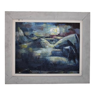 Mid Century Abstract Landscape Painting Oil on Board Signed For Sale