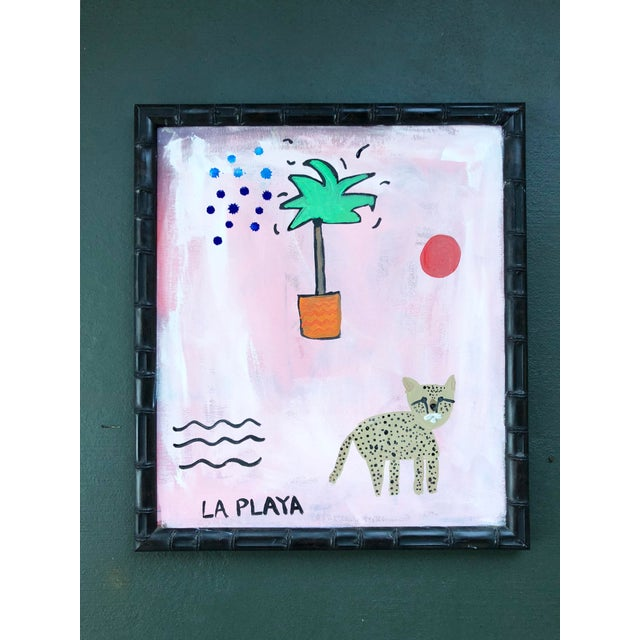 2010s Original Pink and Orange Jungle Painting in Bamboo Frame For Sale - Image 5 of 5