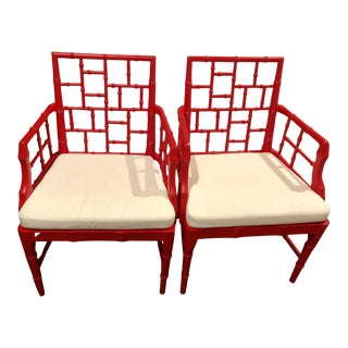 Modern Chinese Chippendale Arm Chairs- a Pair For Sale