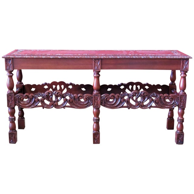 Carved Walnut Console Table For Sale