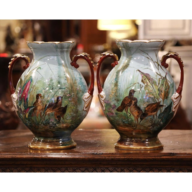 Pair of 19th Century French Painted and Gilt Porcelain Vases With Bird Decor For Sale - Image 4 of 12