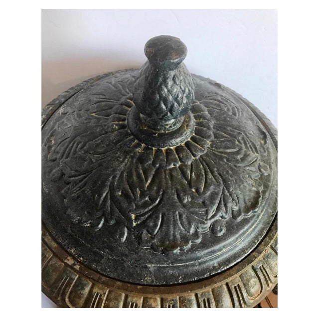 Monumental Antique Covered Cast Iron Urns on Plinths and Lion Head Handles, Pair For Sale - Image 10 of 11