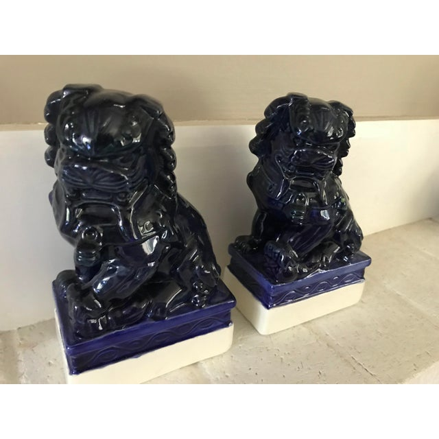Asian 20th Century Traditional Dark Blue Foo Dogs - a Pair For Sale - Image 3 of 8