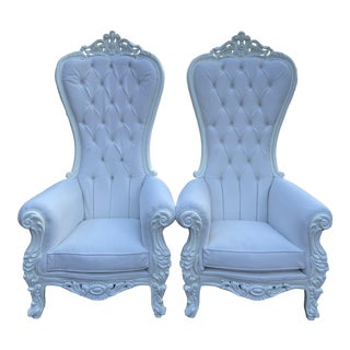 White Baroque Style Tufted Throne Chairs - a Pair For Sale