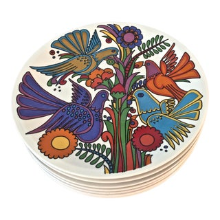 1970s Acapolco Villeroy & Boch China Blue Mark Plates - Set of 6 For Sale
