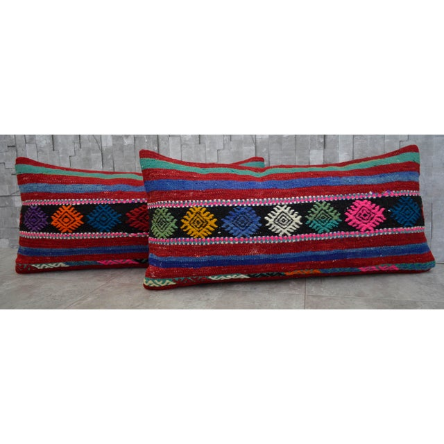 Contemporary Vintage Turkish Kilim Lumbar Pillow Covers - A Pair For Sale - Image 3 of 6