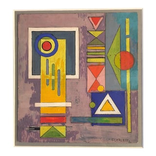 1940 Rolph Scarlett Original Goache Abstract Geometric Abstraction Painting