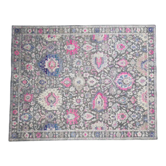 Sari Silk With Oxidized Wool Hand Knotted Oushak Runner- 8′1″ × 10′2″ For Sale