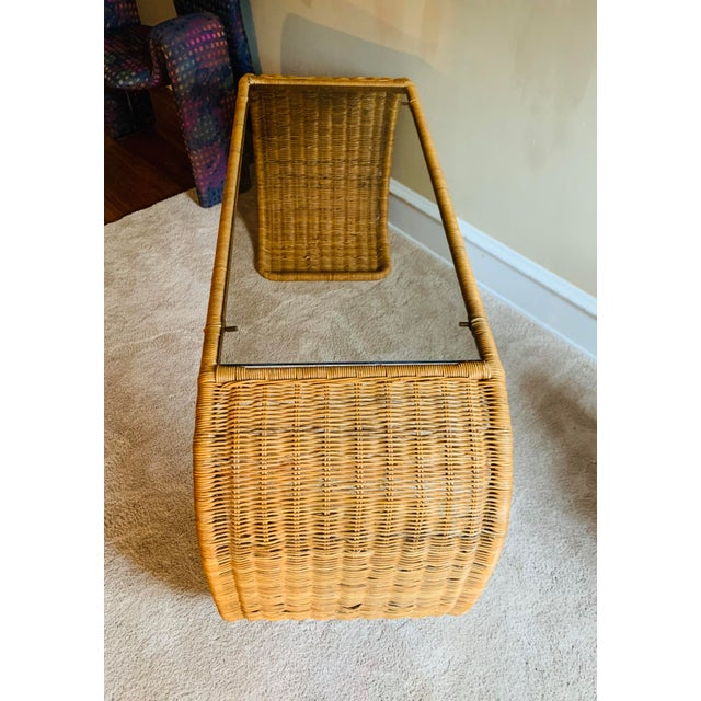 Vintage Rattan Scroll Console Table For Sale - Image 4 of 10