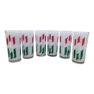 1950s Mid-Century Vintage Red and Green Glasses - Set of 6 For Sale