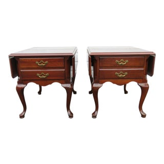 Queen Anne Thomasville Drop Leaf Nightstands - a Pair For Sale