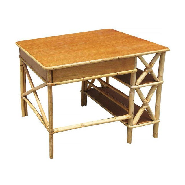 Restored Rattan & Mahogany Secretary Desk With Side Shelf - Image 8 of 8