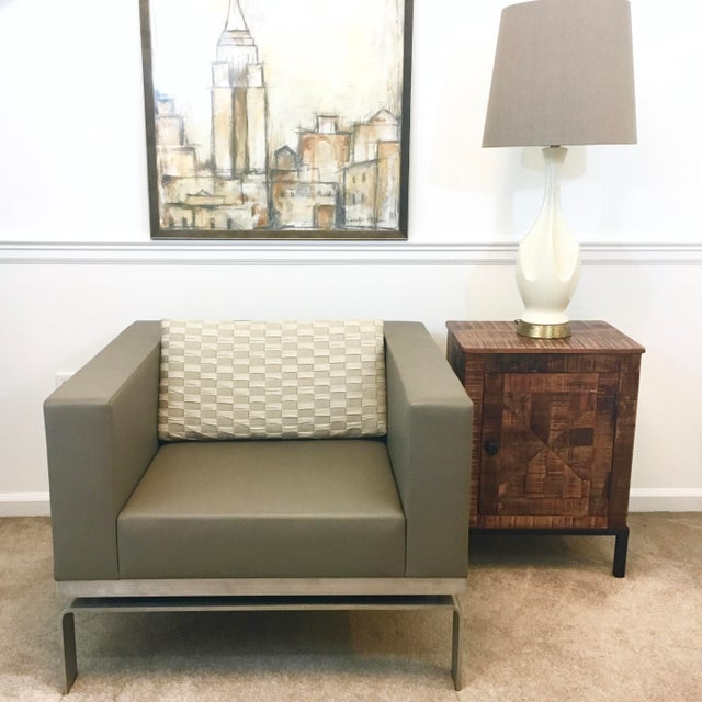 Leather & Steel Club Chair - Image 8 of 8